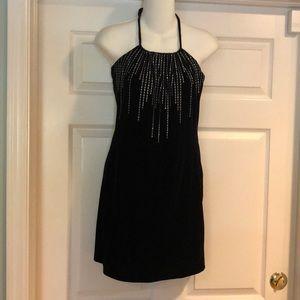 Art black velvet halter dress